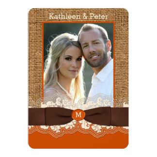 FAUX Burlap Lace Bow PHOTO Wedding Invite, Brown 2 Card
