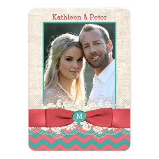 FAUX Burlap Lace Bow PHOTO Wedding Invite, Chevron Card