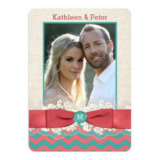 FAUX Burlap Lace Bow PHOTO Wedding Invite, Chevron 5x7 Paper Invitation Card