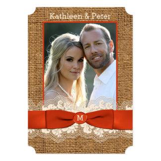 FAUX Burlap Lace Bow PHOTO Wedding Invite - Orange