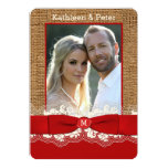 FAUX Burlap, Lace, Bow PHOTO Wedding Invite, Red 2