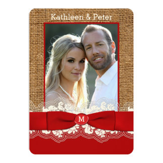 FAUX Burlap, Lace, Bow PHOTO Wedding Invite, Red 2 Card
