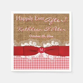 FAUX Burlap, Lace, Gingham Wedding Napkins - Red Paper Napkin