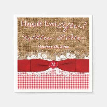FAUX Burlap, Lace, Gingham Wedding Napkins - Red Paper Napkin