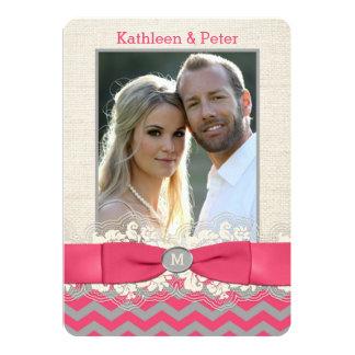 """FAUX Burlap, Lace PHOTO Wedding Invite, Chevron 4 5"""" X 7"""" Invitation Card"""