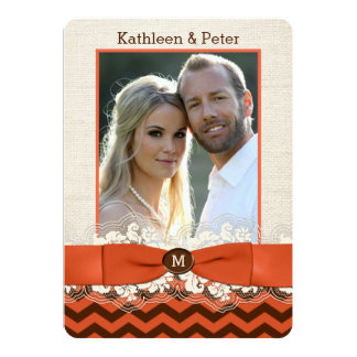 FAUX Burlap, Lace PHOTO Wedding Invite, Chevron 5 Card