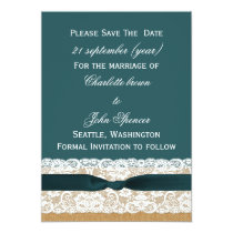 FAUX Burlap lace Rustic save the Date Card