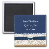 FAUX Burlap lace Rustic save the Date Magnet