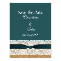 FAUX Burlap lace Rustic save the Date Postcard