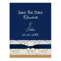 FAUX Burlap lace Rustic save the Date Postcard