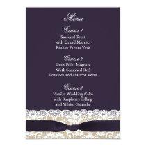 FAUX burlap lace, rustic wedding menu cards