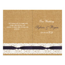 FAUX burlap lace, rustic wedding programs folded