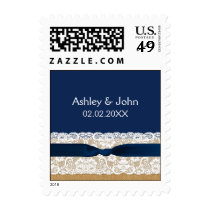 FAUX Burlap lace Rustic wedding stamps