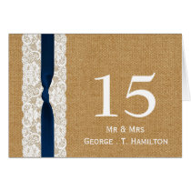 FAUX burlap lace, rustic wedding table numbers Card
