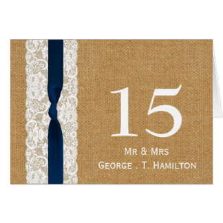FAUX burlap lace, rustic wedding table numbers Greeting Cards