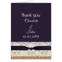 FAUX burlap lace, rustic wedding Thank You Card