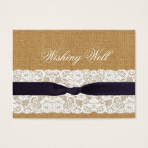 FAUX burlap lace, rustic wedding wishing well Business Card