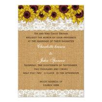 FAUX burlap, lace sunflowers invites
