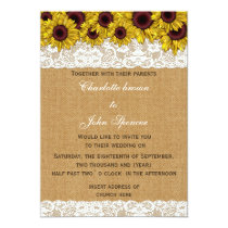 FAUX burlap, lace sunflowers invites