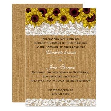 FAUX burlap lace sunflowers wedding Card