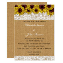 FAUX burlap lace sunflowers wedding Card