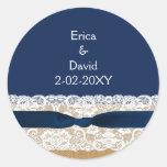 FAUX burlap lace wedding favor stickers