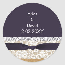 FAUX burlap lace wedding favor stickers