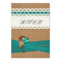 FAUX burlap, lace with aqua wedding rsvp 3.5 x 5 Card