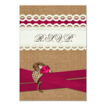 FAUX burlap, lace with pink wedding rsvp 3.5 x 5 Card