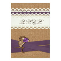 FAUX burlap, lace with purple wedding rsvp 3.5 x 5 Card