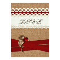 FAUX burlap, lace with red wedding rsvp 3.5 x 5 Card