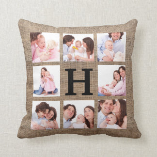 Faux Burlap Monogram with 8 Family Photos Throw Pillow