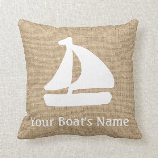 Faux Burlap Nautical Throw Pillow with Sail Boat Zazzle