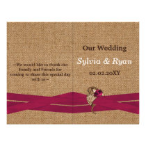 FAUX burlap ,pink brooch bi fold Wedding program