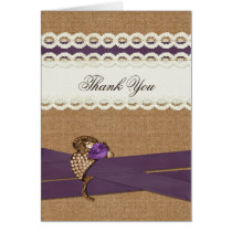 FAUX burlap, purple and white lace Thank You Card