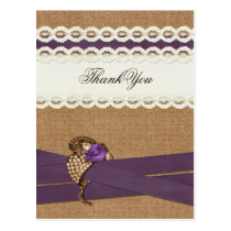 FAUX burlap, purple and white lace Thank You Postcard
