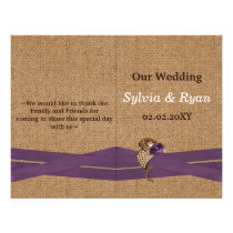 FAUX burlap ,purple brooch bi fold Wedding program