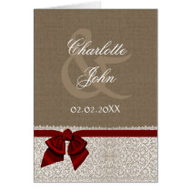 FAUX burlap, red and white lace Thank You Card