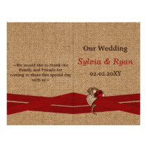 FAUX burlap ,red brooch bi fold Wedding program