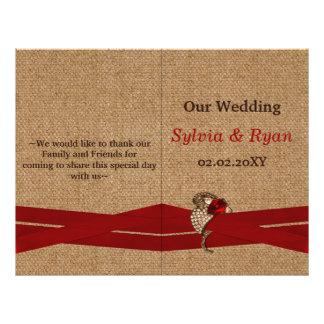 FAUX burlap ,red brooch bi fold Wedding program