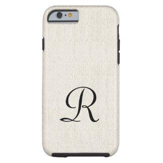 Faux Burlap Rustic Monogram iPhone 6 Case