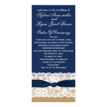 FAUX burlap, rustic wedding programs tea length