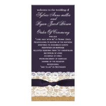 FAUX burlap, rustic wedding programs tea length