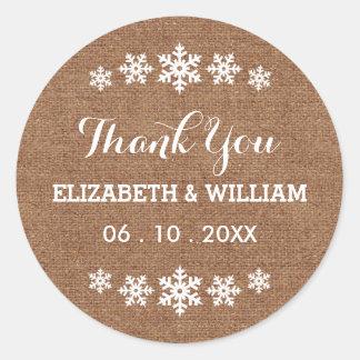 Faux Burlap Wedding Snowflake Sweet Thank You Classic Round Sticker