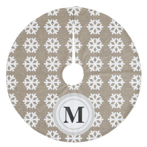 Faux Burlap White Snowflakes Monogram Tree Skirt