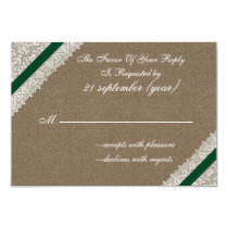 FAUX burlap with emerald green rsvp 3.5 x 5 Card