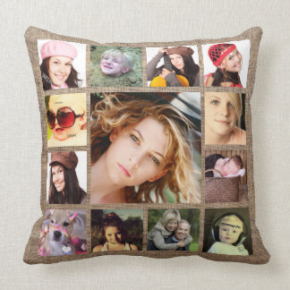 Faux Burlap with Instagram Photo Collage Throw Pillow