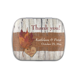 FAUX Burlap, Wood, Leaves Heart Favor Candy Tin