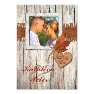 FAUX Burlap, Wood, Leaves, Heart PHOTO Wedding Card