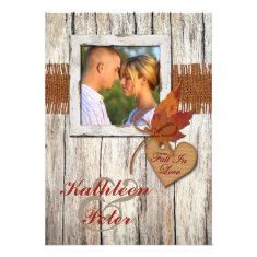 FAUX Burlap, Wood, Leaves, Heart PHOTO Wedding Invites